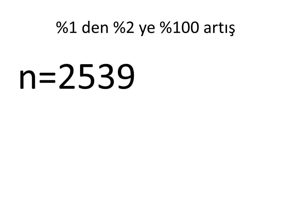%1 den %2 ye %100 artış n=2539
