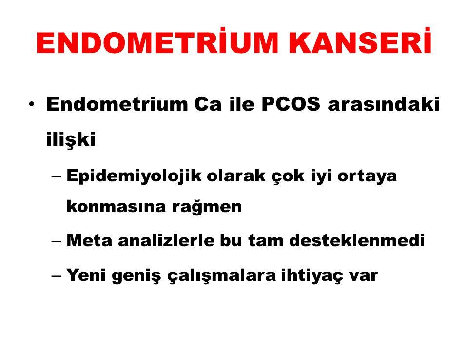 ENDOMETRİUM KANSERİ Endometrium Ca ile PCOS arasındaki ilişki – Epidemiyolojik olarak çok iyi ortaya konmasına rağmen – Meta analizlerle bu tam destek