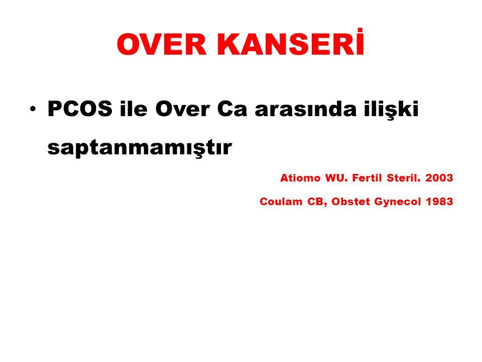 OVER KANSERİ PCOS ile Over Ca arasında ilişki saptanmamıştır Atiomo WU. Fertil Steril. 2003 Coulam CB, Obstet Gynecol 1983