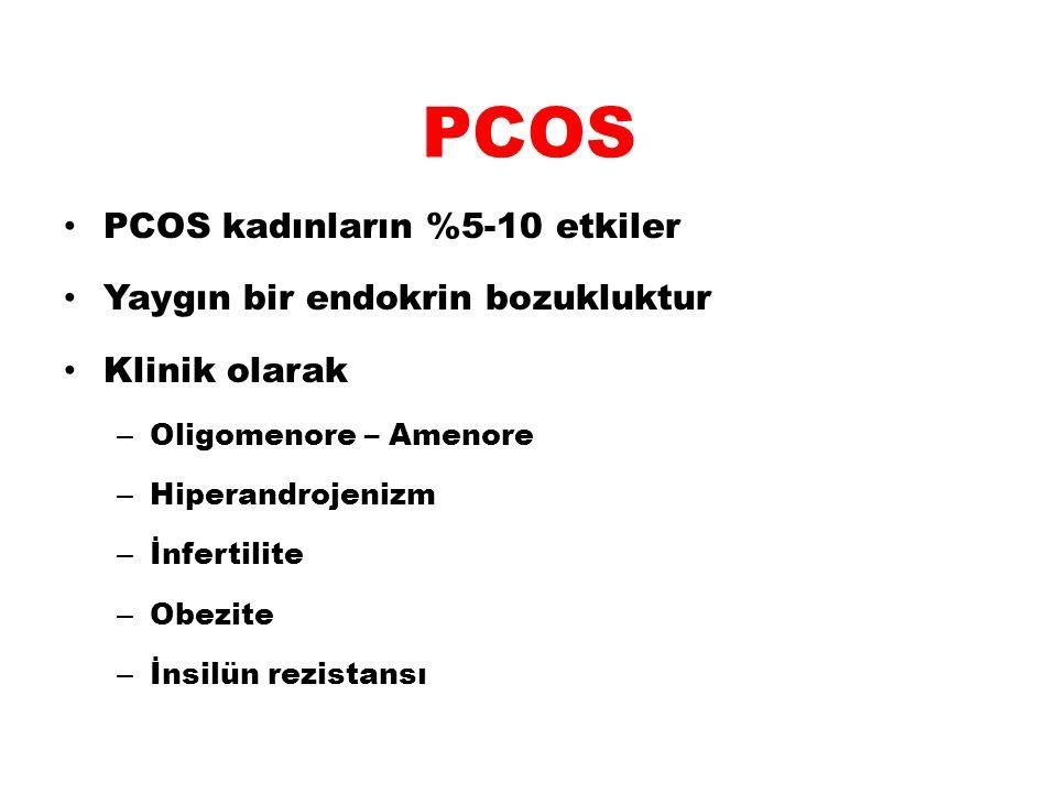 PCOS PCOS kadınların %5-10 etkiler Yaygın bir endokrin bozukluktur Klinik olarak – Oligomenore – Amenore – Hiperandrojenizm – İnfertilite – Obezite –