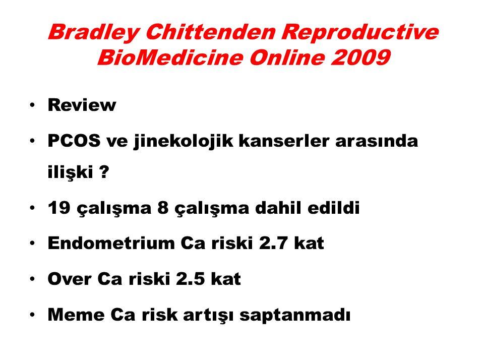 Bradley Chittenden Reproductive BioMedicine Online 2009 Review PCOS ve jinekolojik kanserler arasında ilişki ? 19 çalışma 8 çalışma dahil edildi Endom