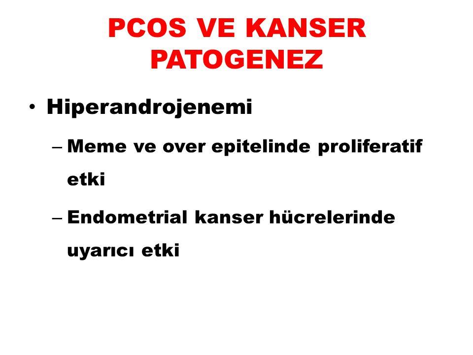 PCOS VE KANSER PATOGENEZ Artmış LH sekresyonu – Over epitelinde proliferasyon – End ca gelişimine neden olabilir LH/hCG reseptörleri endometriumda (+) Büyüme gelişmeyi uyarır End Ca LH reseptörlerinde ↑