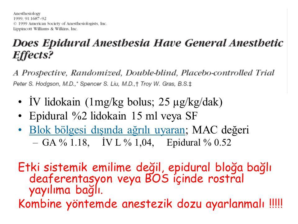 İV lidokain (1mg/kg bolus; 25 µg/kg/dak) Epidural %2 lidokain 15 ml veya SF Blok bölgesi dışında ağrılı uyaran; MAC değeri –GA % 1.18, İV L % 1,04, Ep