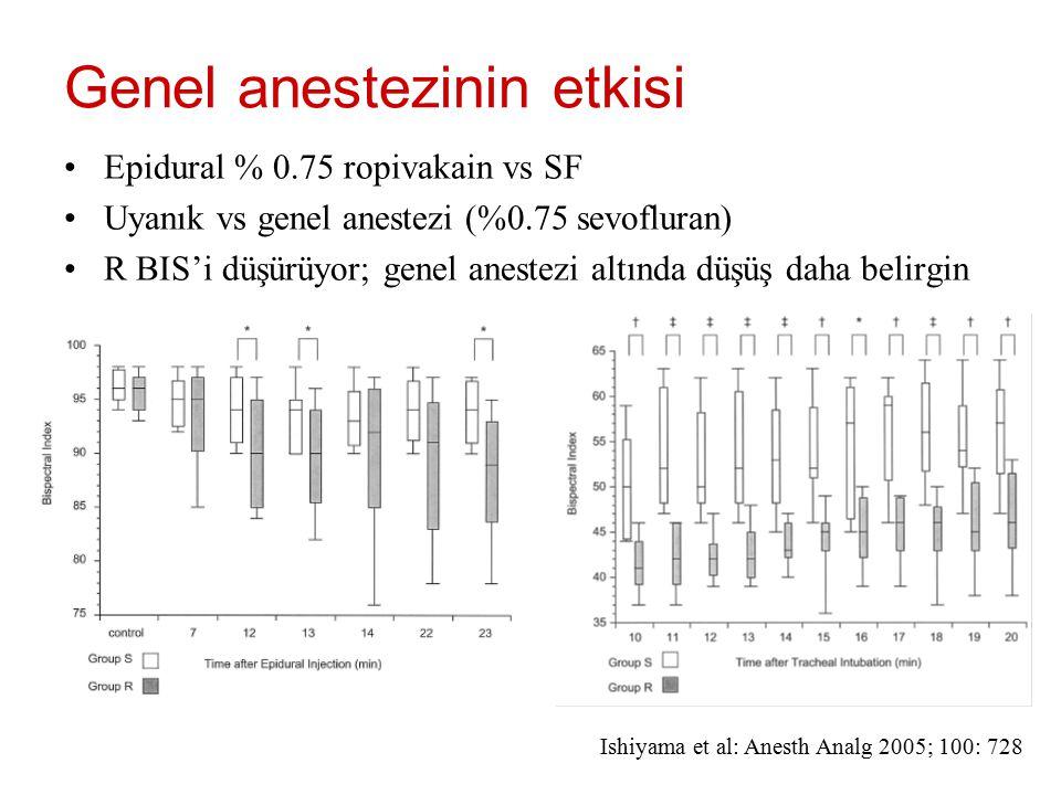 Genel anestezinin etkisi Epidural % 0.75 ropivakain vs SF Uyanık vs genel anestezi (%0.75 sevofluran) R BIS'i düşürüyor; genel anestezi altında düşüş