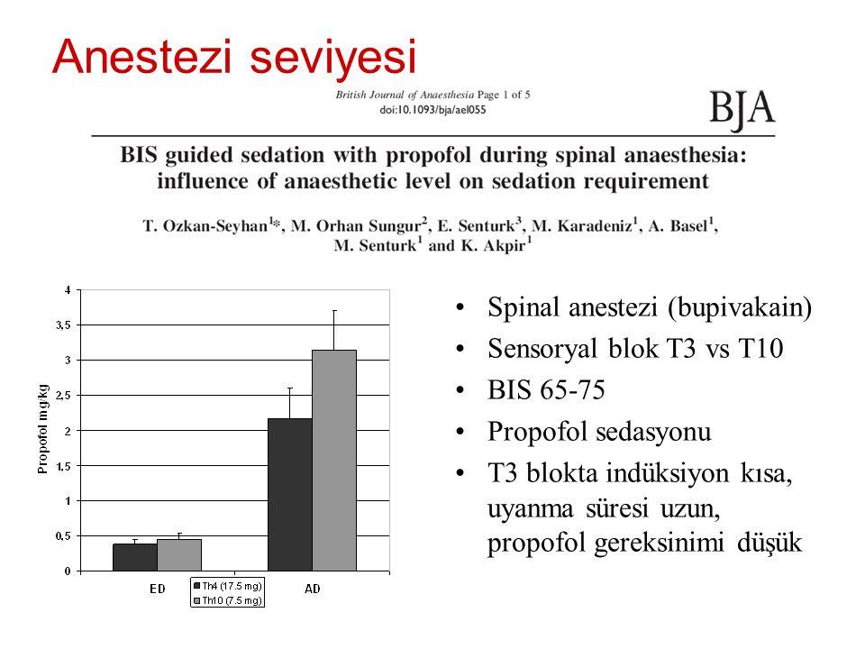 Anestezi seviyesi Spinal anestezi (bupivakain) Sensoryal blok T3 vs T10 BIS 65-75 Propofol sedasyonu T3 blokta indüksiyon kısa, uyanma süresi uzun, pr