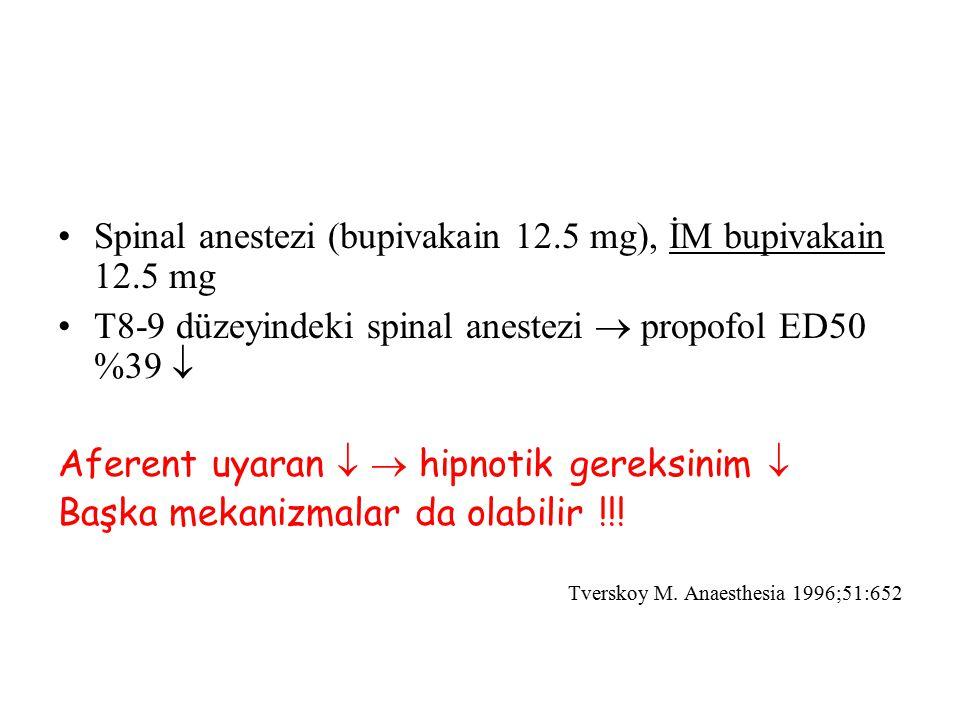 Spinal anestezi (bupivakain 12.5 mg), İM bupivakain 12.5 mg T8-9 düzeyindeki spinal anestezi  propofol ED50 %39  Aferent uyaran   hipnotik gereksi