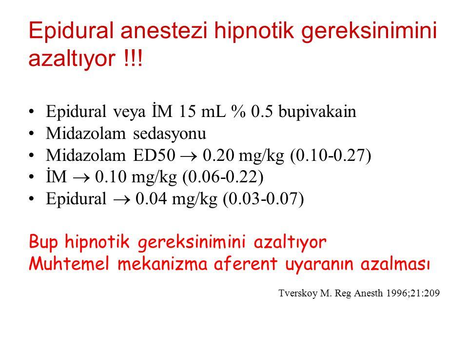 Epidural anestezi hipnotik gereksinimini azaltıyor !!! Epidural veya İM 15 mL % 0.5 bupivakain Midazolam sedasyonu Midazolam ED50  0.20 mg/kg (0.10-0