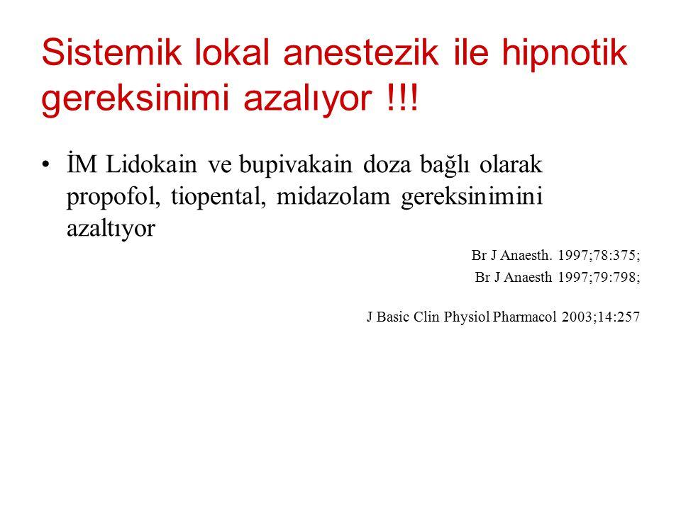İM Lidokain ve bupivakain doza bağlı olarak propofol, tiopental, midazolam gereksinimini azaltıyor Br J Anaesth. 1997;78:375; Br J Anaesth 1997;79:798