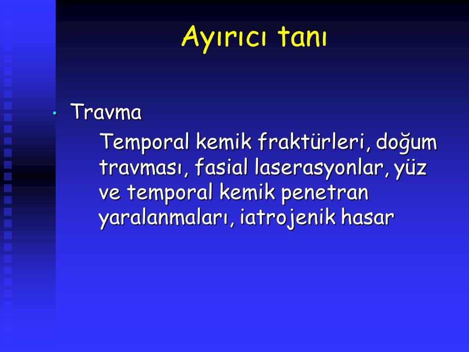 Ayırıcı tanı Travma Travma Temporal kemik fraktürleri, doğum travması, fasial laserasyonlar, yüz ve temporal kemik penetran yaralanmaları, iatrojenik