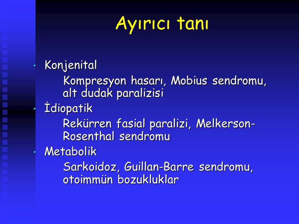 Ayırıcı tanı Konjenital Konjenital Kompresyon hasarı, Mobius sendromu, alt dudak paralizisi İdiopatik İdiopatik Rekürren fasial paralizi, Melkerson- R