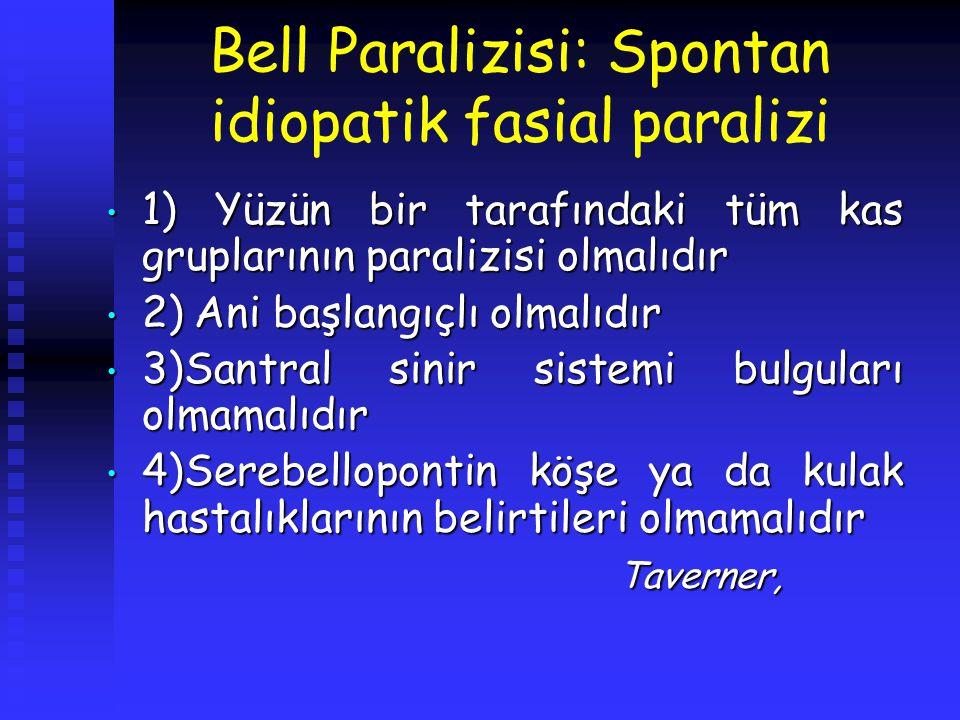 Bell Paralizisi: Spontan idiopatik fasial paralizi 1) Yüzün bir tarafındaki tüm kas gruplarının paralizisi olmalıdır 1) Yüzün bir tarafındaki tüm kas