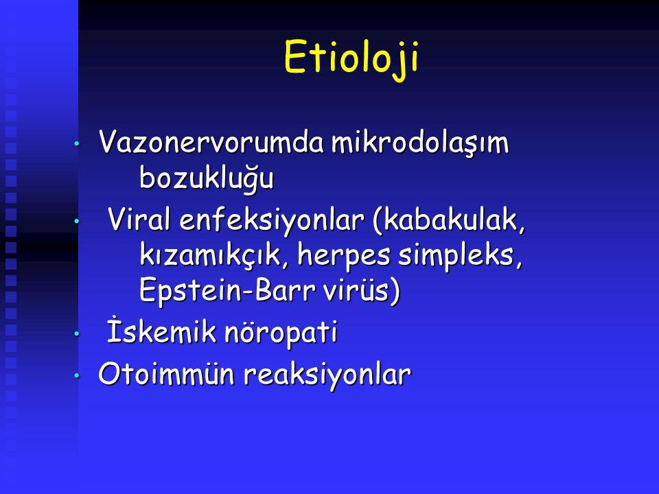 Etioloji Vazonervorumda mikrodolaşım bozukluğu Vazonervorumda mikrodolaşım bozukluğu Viral enfeksiyonlar (kabakulak, kızamıkçık, herpes simpleks, Epst