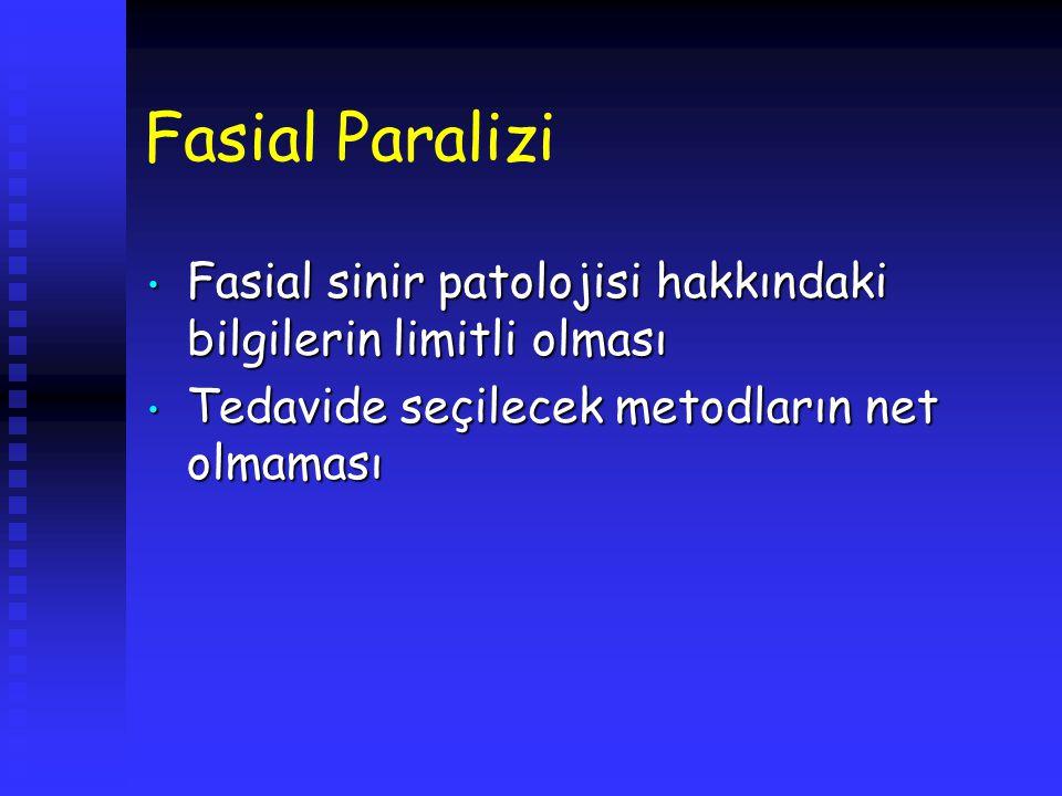 Fasial Paralizi Fasial sinir patolojisi hakkındaki bilgilerin limitli olması Fasial sinir patolojisi hakkındaki bilgilerin limitli olması Tedavide seç