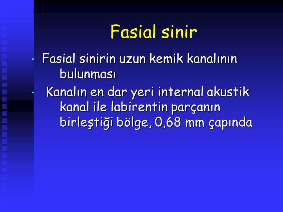 Fasial sinir Fasial sinirin uzun kemik kanalının bulunması Fasial sinirin uzun kemik kanalının bulunması Kanalın en dar yeri internal akustik kanal il