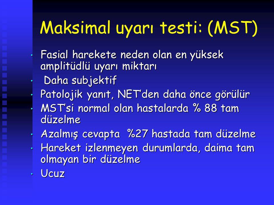 Maksimal uyarı testi: (MST) Fasial harekete neden olan en yüksek amplitüdlü uyarı miktarı Fasial harekete neden olan en yüksek amplitüdlü uyarı miktar
