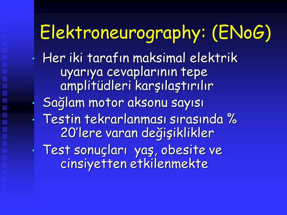 Elektroneurography: (ENoG) Her iki tarafın maksimal elektrik uyarıya cevaplarının tepe amplitüdleri karşılaştırılır Her iki tarafın maksimal elektrik