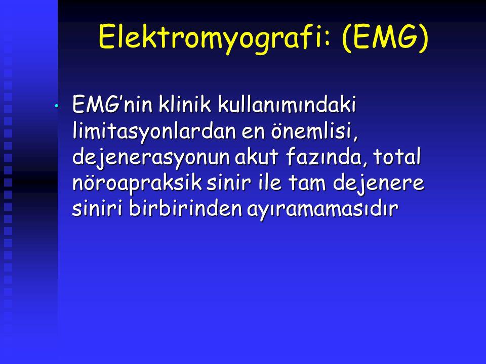 Elektromyografi: (EMG) EMG'nin klinik kullanımındaki limitasyonlardan en önemlisi, dejenerasyonun akut fazında, total nöroapraksik sinir ile tam dejen