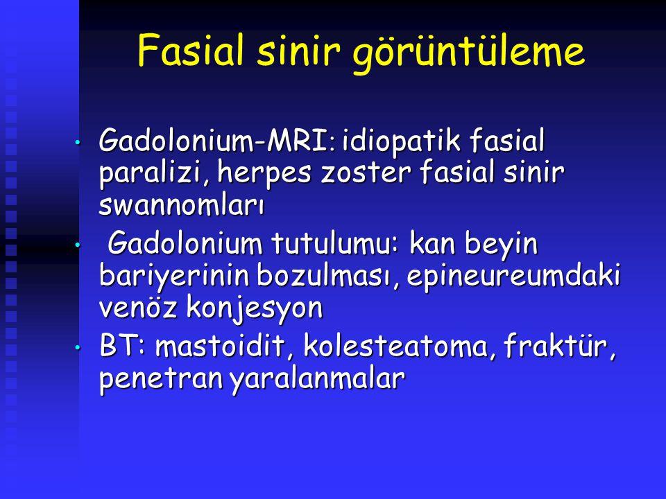 Fasial sinir görüntüleme Gadolonium-MRI : idiopatik fasial paralizi, herpes zoster fasial sinir swannomları Gadolonium-MRI : idiopatik fasial paralizi