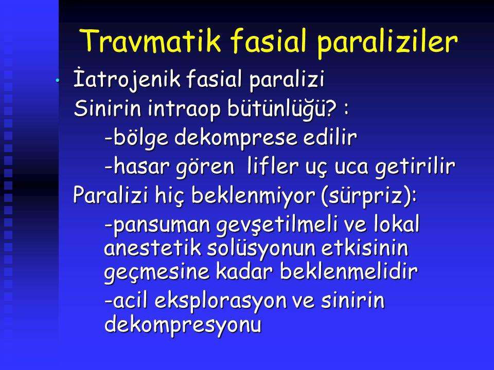 Travmatik fasial paraliziler İatrojenik fasial paralizi İatrojenik fasial paralizi Sinirin intraop bütünlüğü? : -bölge dekomprese edilir -hasar gören