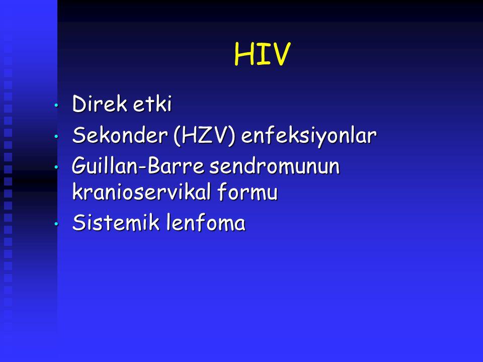 HIV Direk etki Direk etki Sekonder (HZV) enfeksiyonlar Sekonder (HZV) enfeksiyonlar Guillan-Barre sendromunun kranioservikal formu Guillan-Barre sendr