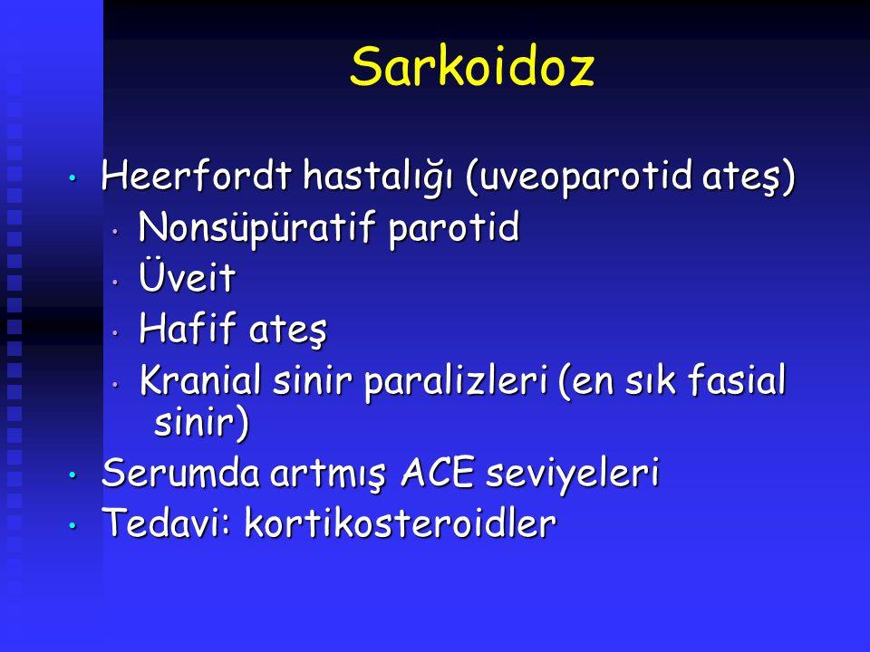 Sarkoidoz Heerfordt hastalığı (uveoparotid ateş) Heerfordt hastalığı (uveoparotid ateş) Nonsüpüratif parotid Nonsüpüratif parotid Üveit Üveit Hafif at