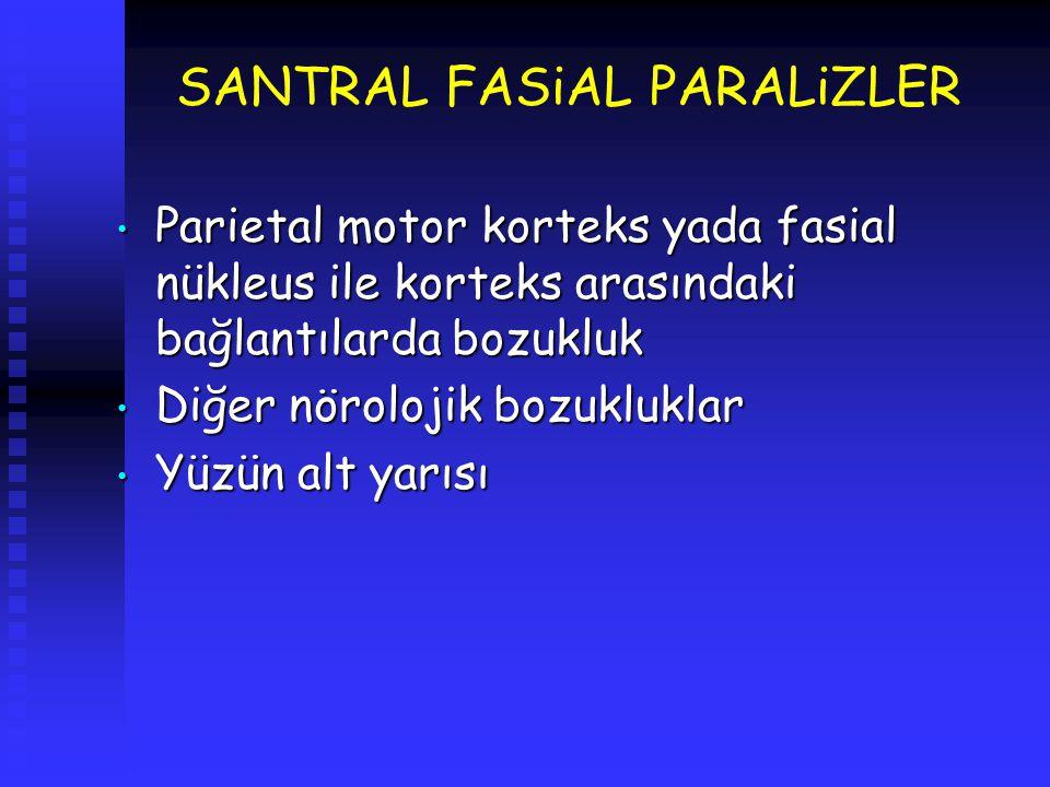 SANTRAL FASiAL PARALiZLER Parietal motor korteks yada fasial nükleus ile korteks arasındaki bağlantılarda bozukluk Parietal motor korteks yada fasial