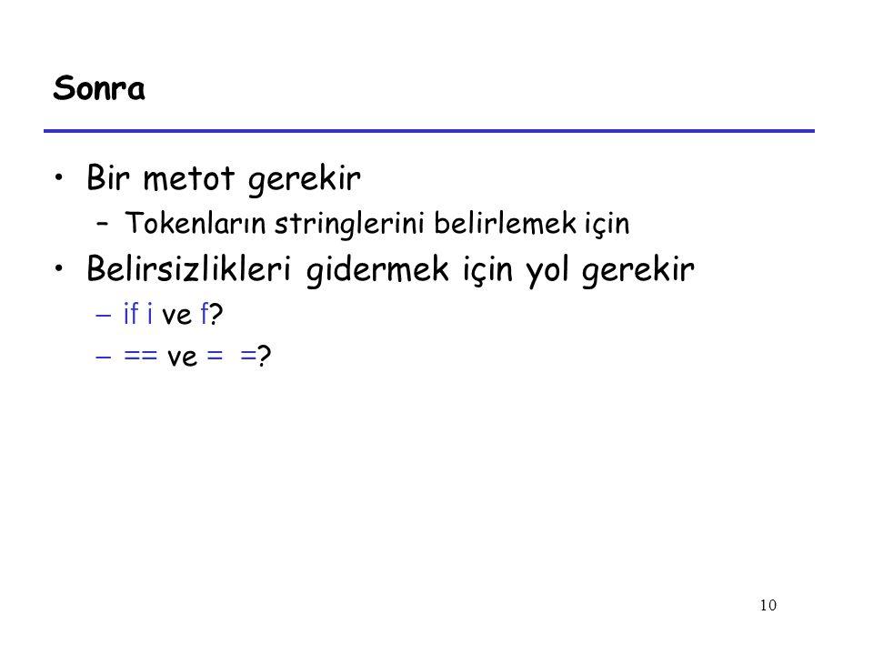10 Sonra Bir metot gerekir –Tokenların stringlerini belirlemek için Belirsizlikleri gidermek için yol gerekir –if i ve f ? –== ve = = ?