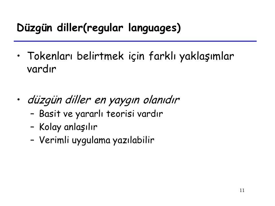 11 Düzgün diller(regular languages) Tokenları belirtmek için farklı yaklaşımlar vardır düzgün diller en yaygın olanıdır –Basit ve yararlı teorisi vardır –Kolay anlaşılır –Verimli uygulama yazılabilir