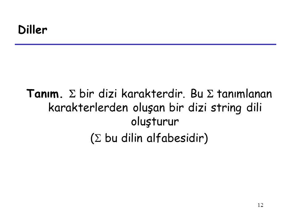 12 Diller Tanım. S bir dizi karakterdir. Bu S tanımlanan karakterlerden oluşan bir dizi string dili oluşturur (  bu dilin alfabesidir)