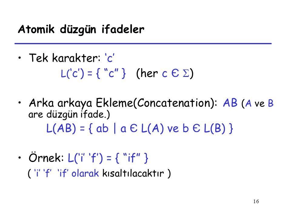 16 Atomik düzgün ifadeler Tek karakter: 'c' L( 'c') = { c } (her c Є  ) Arka arkaya Ekleme(Concatenation): AB (A ve B are düzgün ifade.) L(AB) = { ab | a Є L(A) ve b Є L(B) } Örnek: L('i' 'f') = { if } ( 'i' 'f' 'if' olarak kısaltılacaktır )