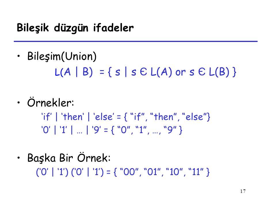 17 Bileşik düzgün ifadeler Bileşim(Union) L( A | B) = { s | s Є L(A) or s Є L(B) } Örnekler: 'if' | 'then' | 'else' = { if , then , else } '0' | '1' | … | '9' = { 0 , 1 , …, 9 } Başka Bir Örnek: ('0' | '1') ('0' | '1') = { 00 , 01 , 10 , 11 }