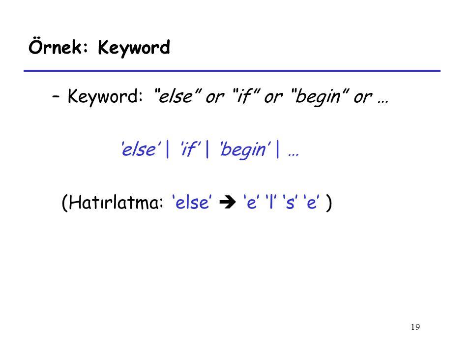 19 Örnek: Keyword –Keyword: else or if or begin or … 'else' | 'if' | 'begin' | … (Hatırlatma: 'else'  'e' 'l' 's' 'e' )