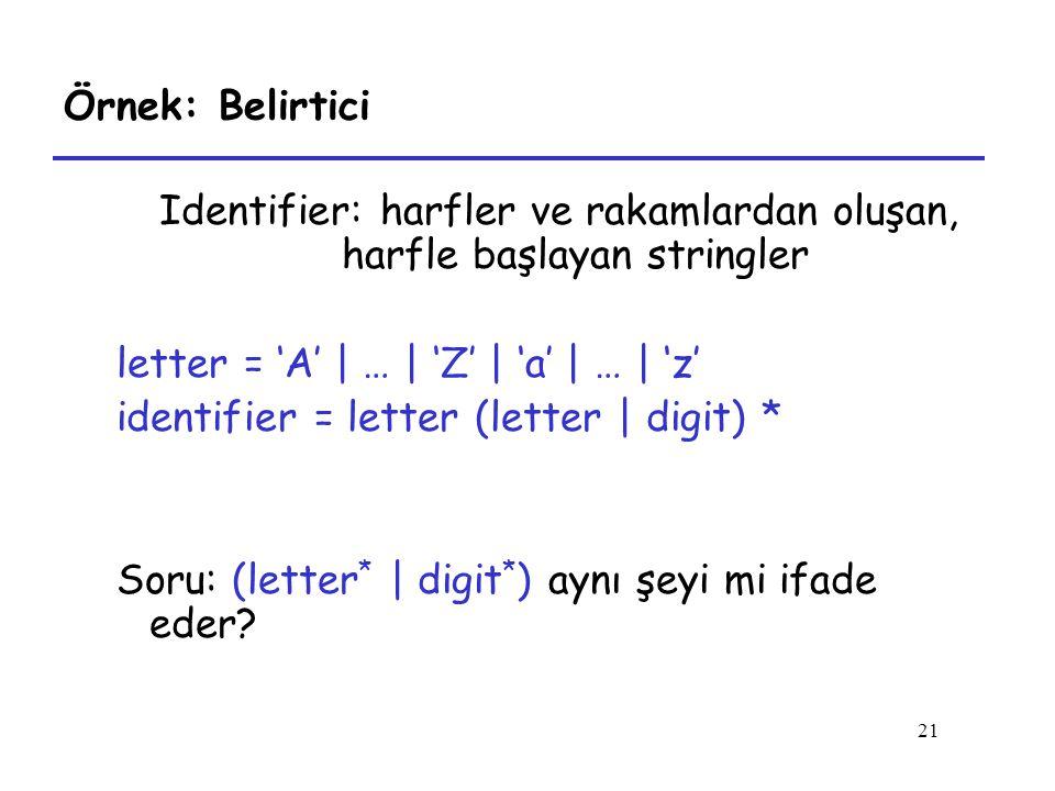 21 Örnek: Belirtici Identifier: harfler ve rakamlardan oluşan, harfle başlayan stringler letter = 'A' | … | 'Z' | 'a' | … | 'z' identifier = letter (letter | digit) * Soru: (letter * | digit * ) aynı şeyi mi ifade eder?
