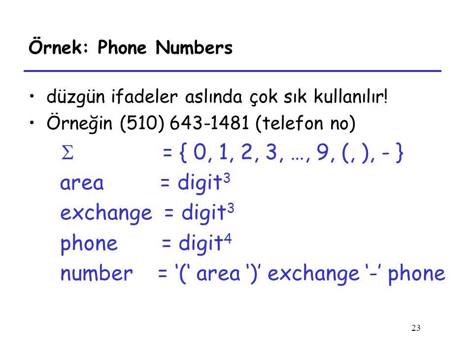 23 Örnek: Phone Numbers düzgün ifadeler aslında çok sık kullanılır! Örneğin (510) 643-1481 (telefon no)  = { 0, 1, 2, 3, …, 9, (, ), - } area = digit