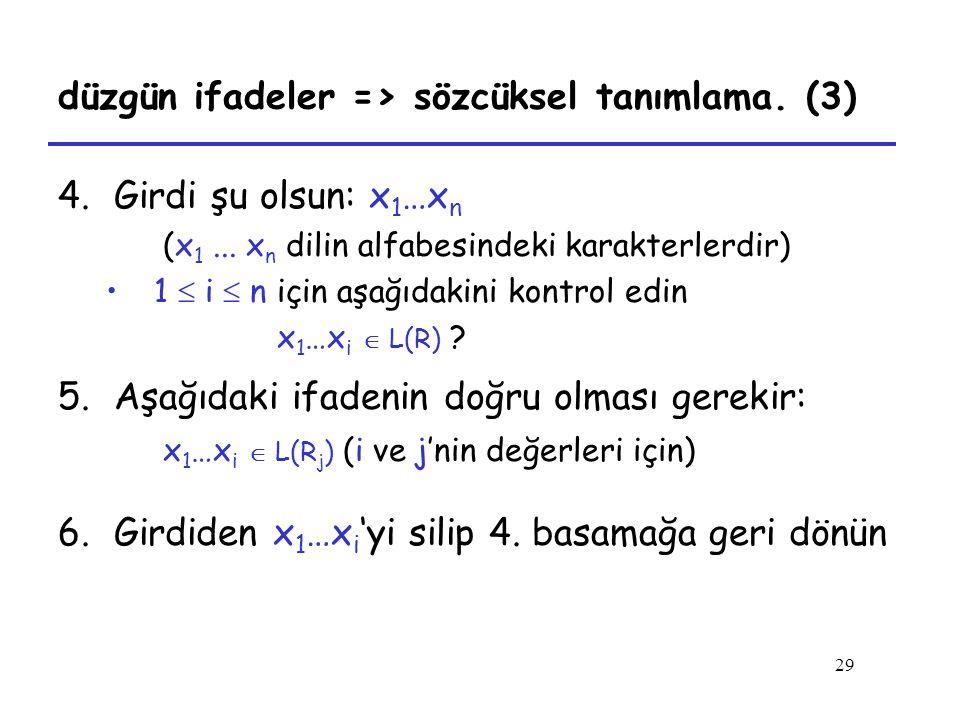 29 düzgün ifadeler => sözcüksel tanımlama. (3) 4.Girdi şu olsun: x 1 …x n (x 1... x n dilin alfabesindeki karakterlerdir) 1  i  n için aşağıdakini k
