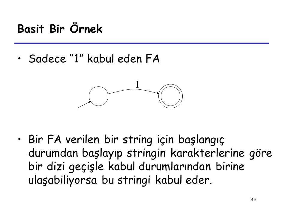38 Basit Bir Örnek Sadece 1 kabul eden FA Bir FA verilen bir string için başlangıç durumdan başlayıp stringin karakterlerine göre bir dizi geçişle kabul durumlarından birine ulaşabiliyorsa bu stringi kabul eder.