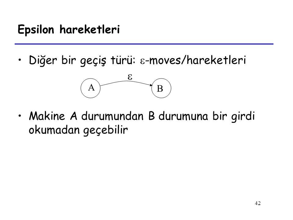 42 Epsilon hareketleri Diğer bir geçiş türü:  -moves/hareketleri  Makine A durumundan B durumuna bir girdi okumadan geçebilir A B