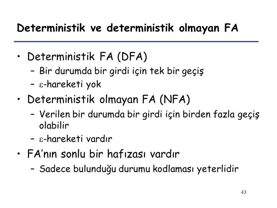 43 Deterministik ve deterministik olmayan FA Deterministik FA (DFA) –Bir durumda bir girdi için tek bir geçiş –  -hareketi yok Deterministik olmayan FA (NFA) –Verilen bir durumda bir girdi için birden fazla geçiş olabilir –  -hareketi vardır FA'nın sonlu bir hafızası vardır –Sadece bulunduğu durumu kodlaması yeterlidir