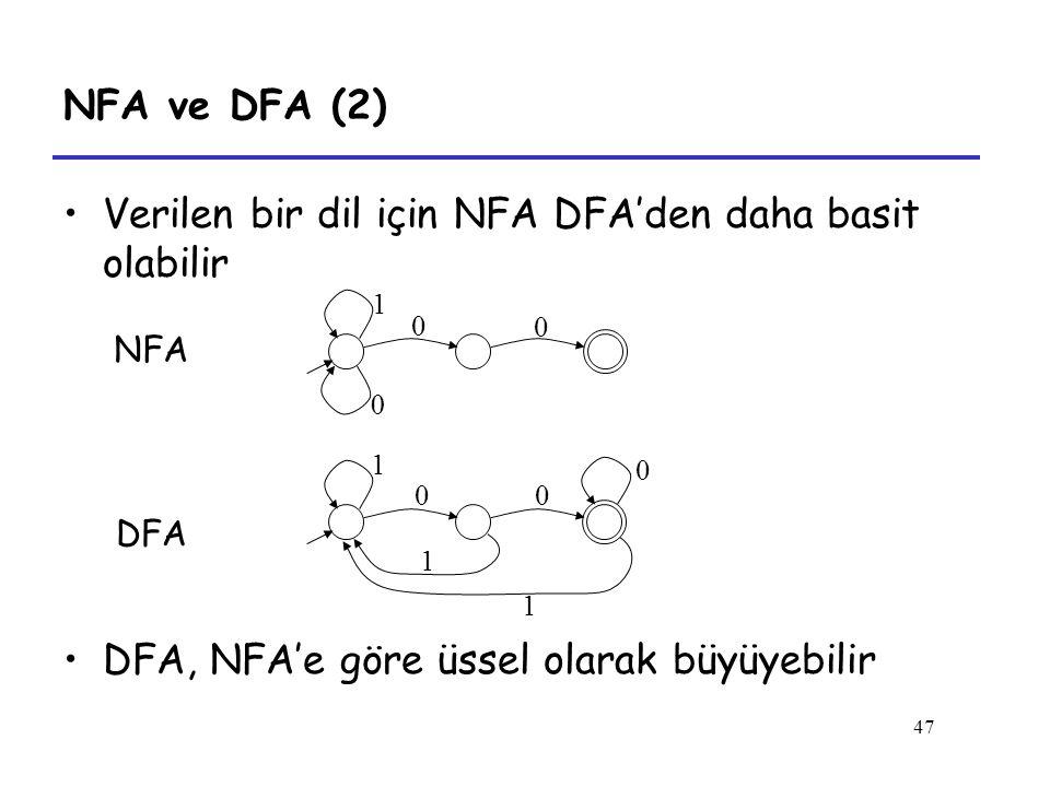 47 NFA ve DFA (2) Verilen bir dil için NFA DFA'den daha basit olabilir 0 1 0 0 0 1 0 1 0 1 NFA DFA DFA, NFA'e göre üssel olarak büyüyebilir
