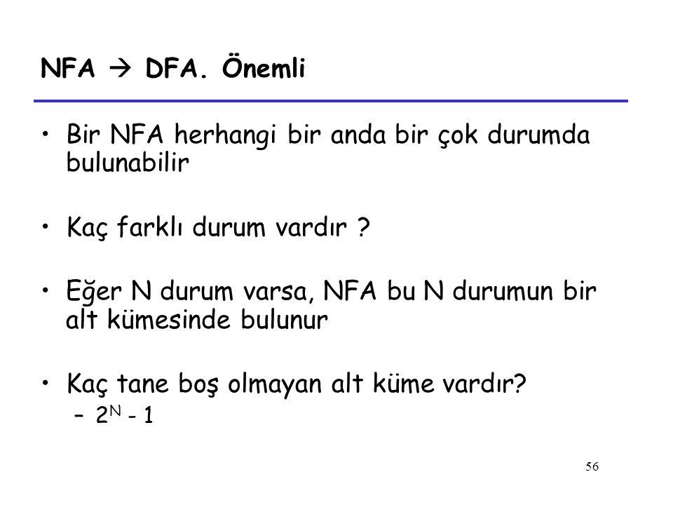 56 NFA  DFA. Önemli Bir NFA herhangi bir anda bir çok durumda bulunabilir Kaç farklı durum vardır ? Eğer N durum varsa, NFA bu N durumun bir alt küme