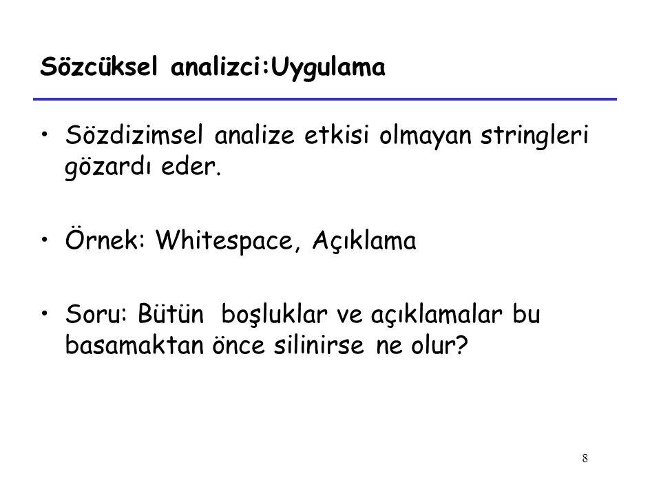 8 Sözcüksel analizci:Uygulama Sözdizimsel analize etkisi olmayan stringleri gözardı eder. Örnek: Whitespace, Açıklama Soru: Bütün boşluklar ve açıklam