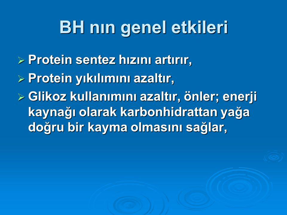 BH nın genel etkileri  Protein sentez hızını artırır,  Protein yıkılımını azaltır,  Glikoz kullanımını azaltır, önler; enerji kaynağı olarak karbon
