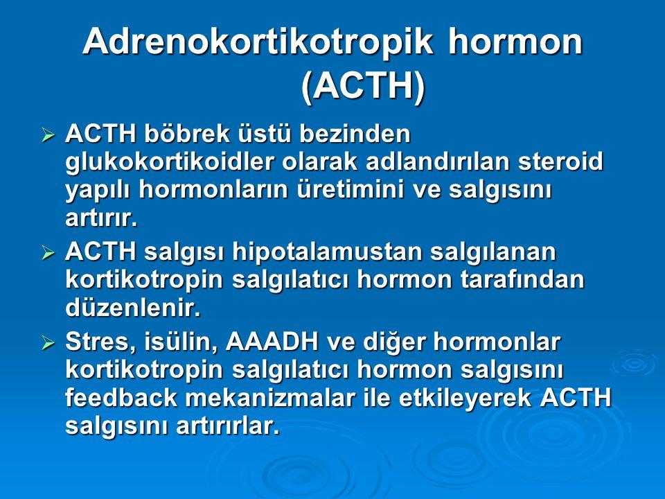 Adrenokortikotropik hormon (ACTH)  ACTH böbrek üstü bezinden glukokortikoidler olarak adlandırılan steroid yapılı hormonların üretimini ve salgısını