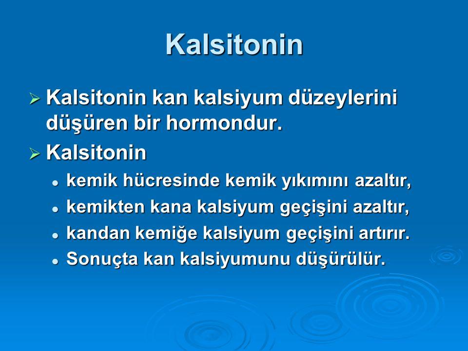 Kalsitonin  Kalsitonin kan kalsiyum düzeylerini düşüren bir hormondur.  Kalsitonin kemik hücresinde kemik yıkımını azaltır, kemik hücresinde kemik y