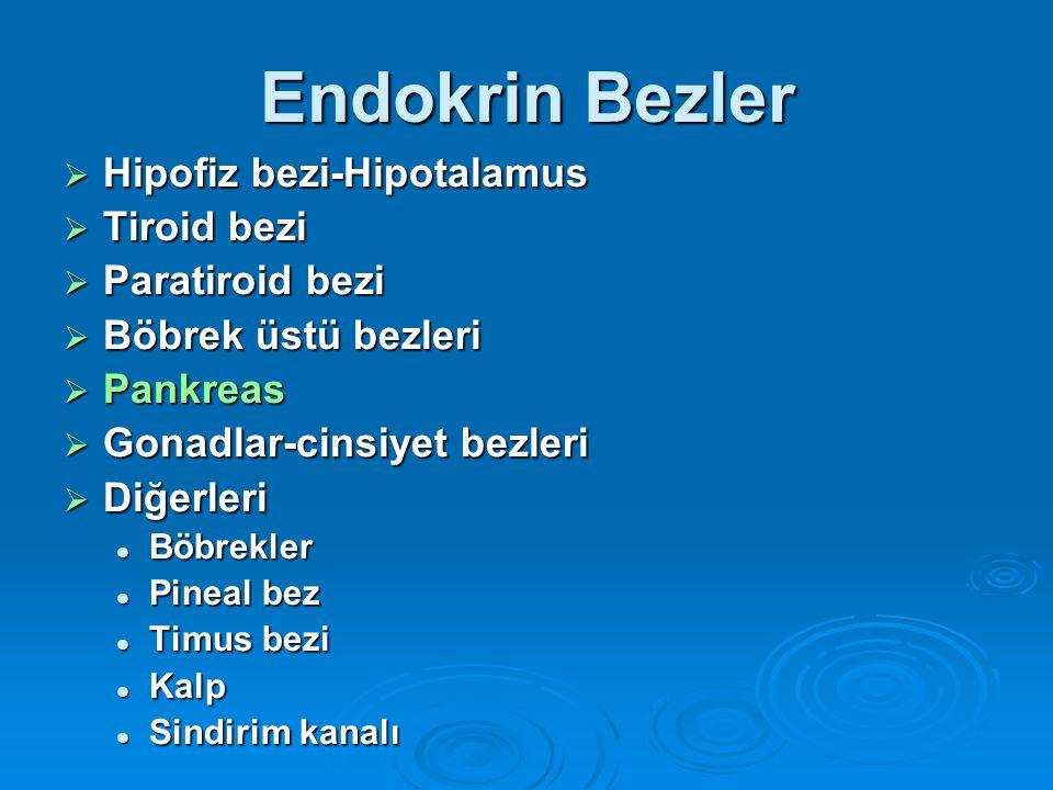 Endokrin Bezler  Hipofiz bezi-Hipotalamus  Tiroid bezi  Paratiroid bezi  Böbrek üstü bezleri  Pankreas  Gonadlar-cinsiyet bezleri  Diğerleri Bö