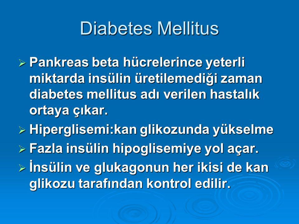 Diabetes Mellitus  Pankreas beta hücrelerince yeterli miktarda insülin üretilemediği zaman diabetes mellitus adı verilen hastalık ortaya çıkar.  Hip