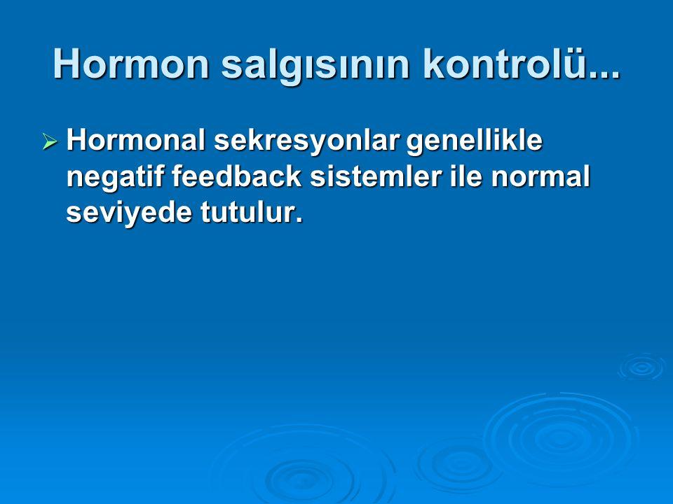 Hormon salgısının kontrolü...  Hormonal sekresyonlar genellikle negatif feedback sistemler ile normal seviyede tutulur.
