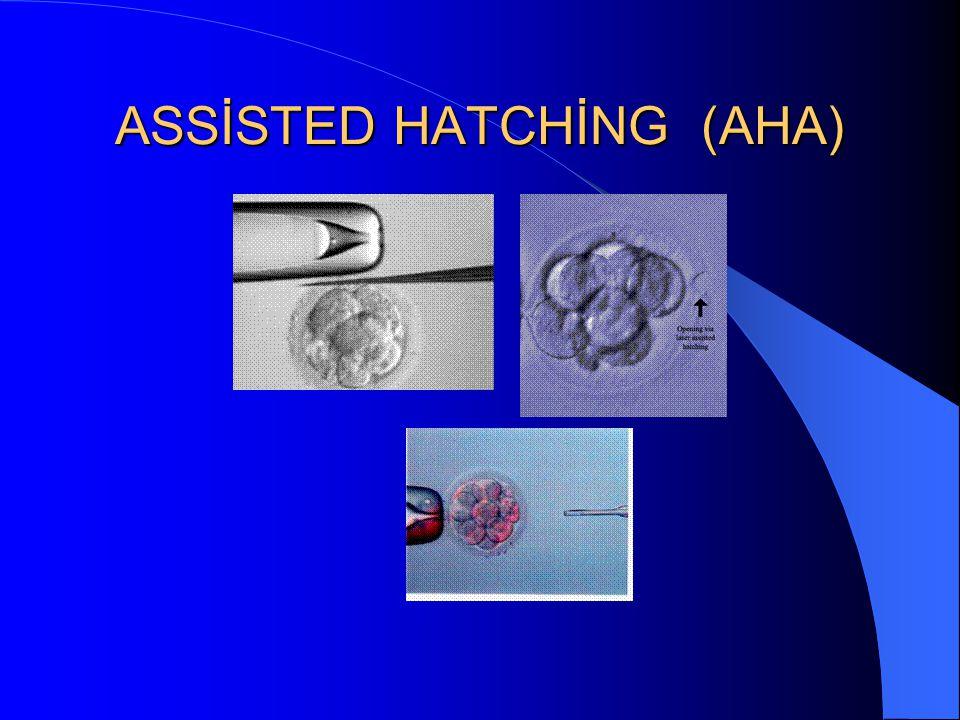 ASSİSTED HATCHİNG (AHA) Embriyonun rahim içine tutunmasını kolaylaştırmak için embriyonun dış zarına delik açılması işlemine assisted hatching denilme
