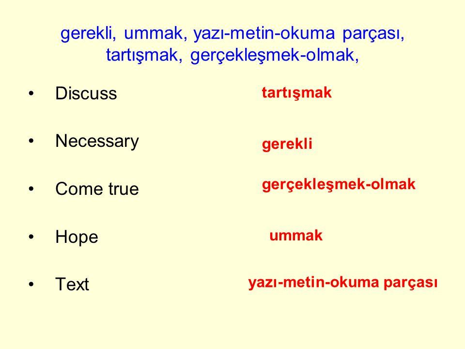 gerekli, ummak, yazı-metin-okuma parçası, tartışmak, gerçekleşmek-olmak, Discuss Necessary Come true Hope Text tartışmak gerekli yazı-metin-okuma parçası ummak gerçekleşmek-olmak