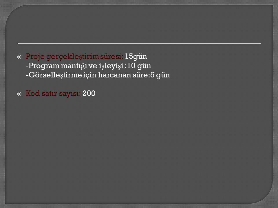  Proje gerçekle ş tirim süresi: 15gün -Program mantı ğ ı ve i ş leyi ş i :10 gün -Görselle ş tirme için harcanan süre:5 gün  Kod satır sayısı: 200